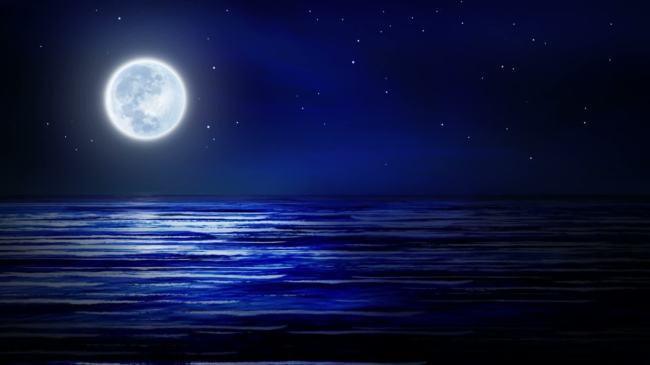 波涛 视觉 冲击 效果 朦胧 光线 月光 月夜 自然 风景 led 大屏幕