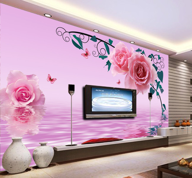 电视墙 形象墙 背景墙 壁纸 墙壁 墙画 墙纸 墙体 手绘 说明:粉色浪漫