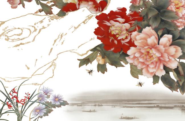 【jpg】牡丹情彩雕背景墙