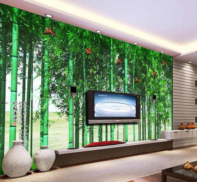 电视墙 形象墙 背景墙 壁纸 墙壁 墙画 墙纸 墙体 手绘 说明:竹林飞雀