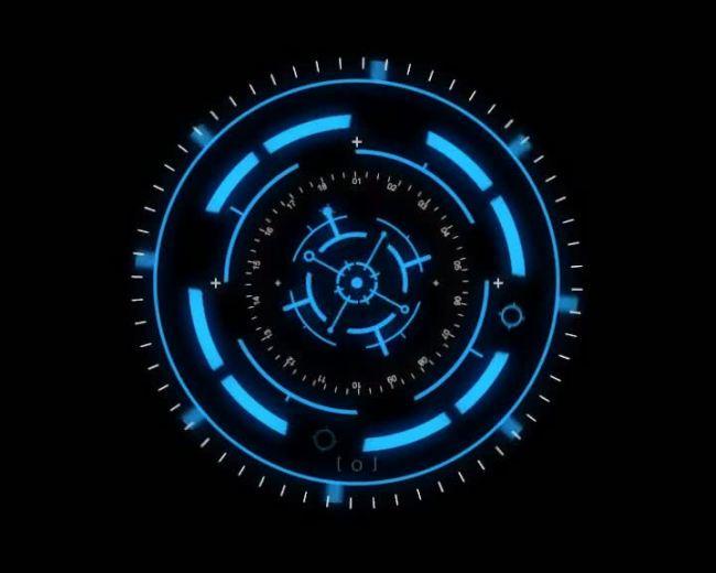 光环背景视频素材 黑色背景素材 圆形旋转 蓝色 说明:光环转动视频