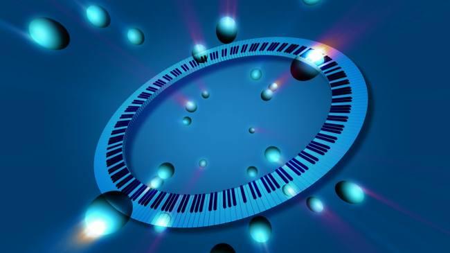 【mov】蓝色圆形钢琴键盘旋转高清视频素材_图片编号