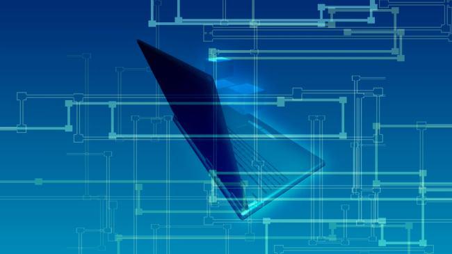 片尾 会声会影 ae 专业 制作 pre 主题 说明:蓝色手提电脑抽象图形
