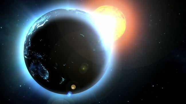【mov】发光太阳地球光晕效果高清视频背景素材