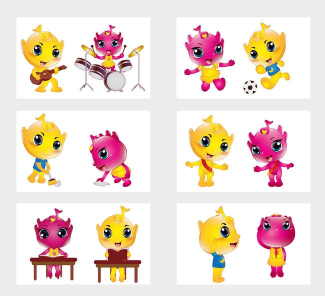 ai eps 吉祥物下载 说明:音乐形像设计情侣可爱卡通学校吉祥物
