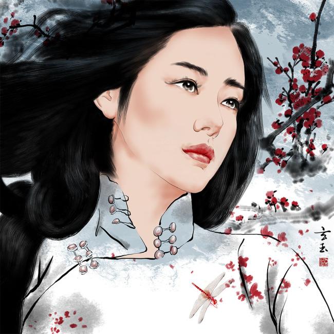 【psd】原创手绘中国风旗袍美女无框画psd分层图