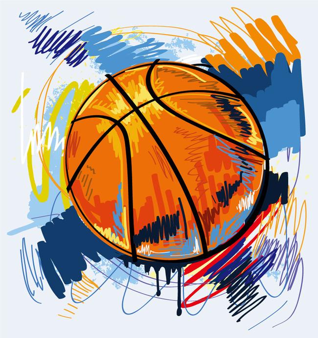 比赛海报 篮球赛 运动海报 背景 彩绘 篮球 体育运动 涂鸦 插画 矢量图片
