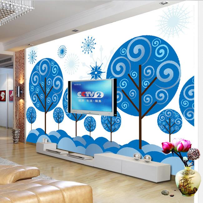 浪漫花卉 蓝色 鸟 幸福树 发财树 幸运树 抽象 电视墙 形象墙 欧式