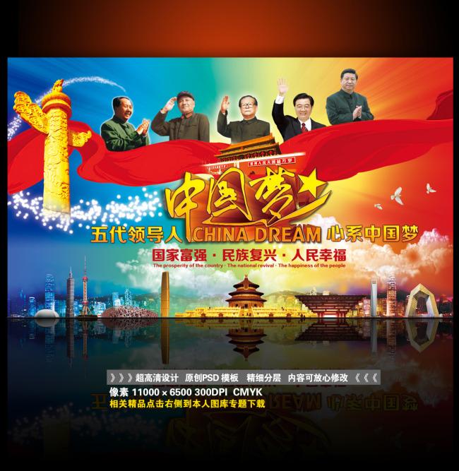 【psd】五代领导人心系中国梦巨幅大气展板海报图