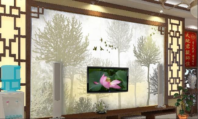 森林 大樹 樹木 樹 秋天 飛鳥 風景畫 自然風景 說明:客廳電視背景墻