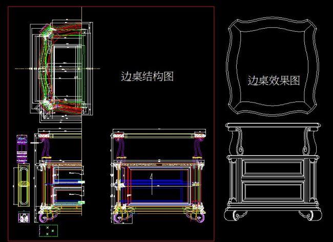 cad平面图 cad施工图 cad设计图 家具 边桌 小桌子 说明:边桌结构图
