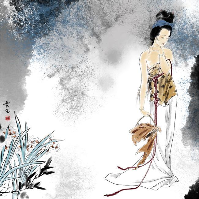 手绘仕女图下载 手绘 古装美女 唯美 唯美图片 美女 水墨 水墨效果