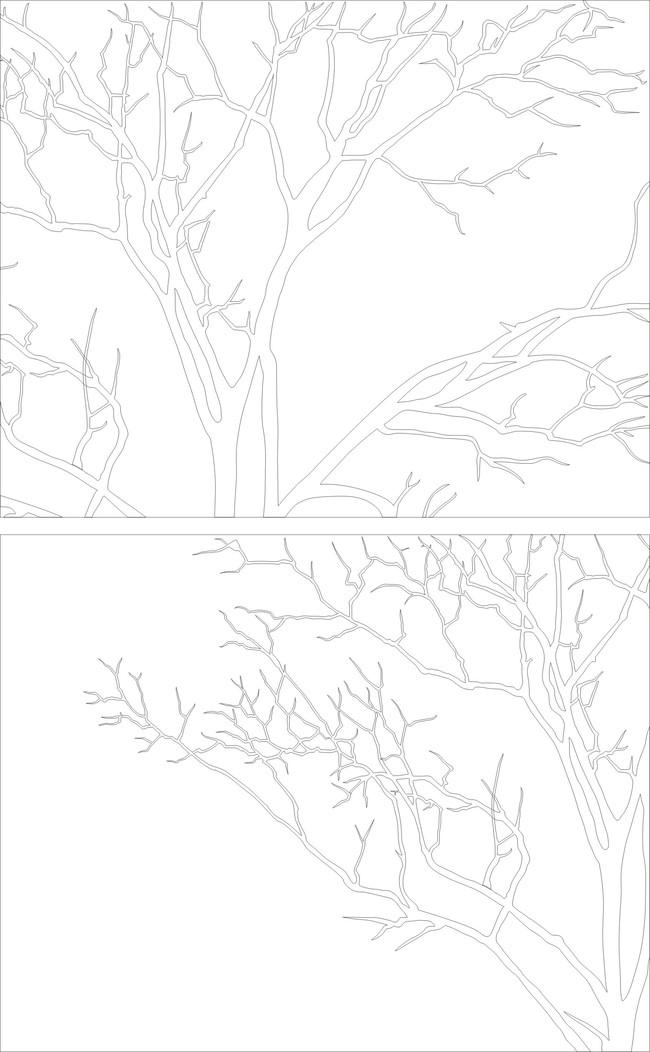 雕刻圖案 > 樹木雕刻  關鍵詞: 花紋 幾何 現代 刻繪 白描 線條 藝術