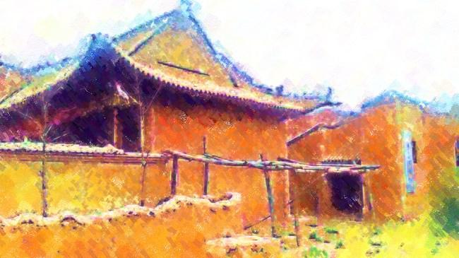 中国旅游 装饰画 家居装饰画 油画 农村建筑 风景建筑 说明:老房子