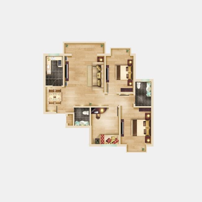 【psd】三室两厅彩色户型图下载户型彩平图下载