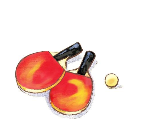 【psd】手绘儿童插画插图乒乓球拍乒乓球