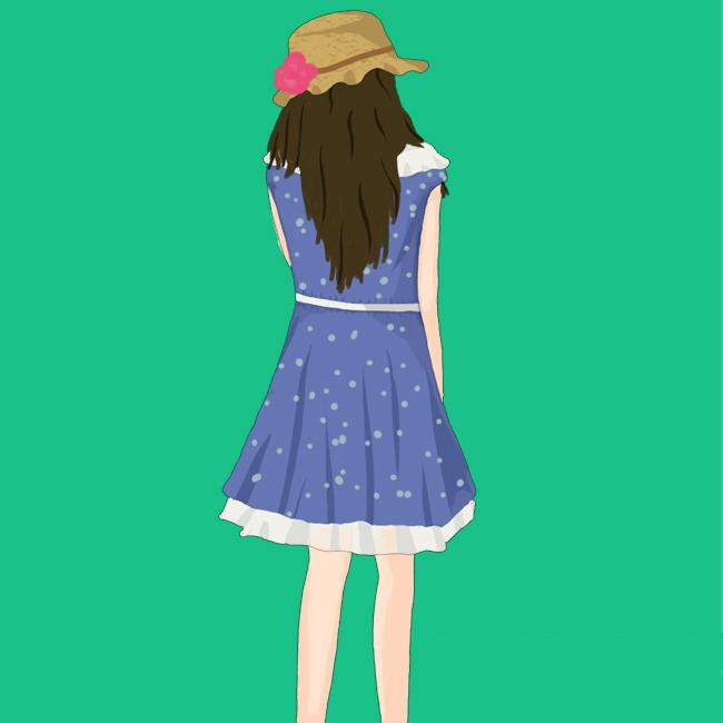 人物插画 > 卡通女孩背影商业插画  关键词: 卡通女孩 卡通女生 背影