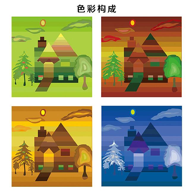 【ai】色彩构成插画设计素材模板