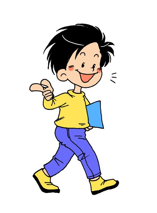 【psd】手绘儿插卡通人物小学生男孩路过