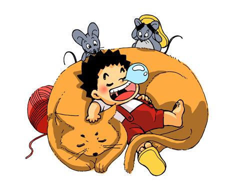 插画素材 插画设计 白底插画素材 说明:儿童插画卡通人物童趣宝贝猫和