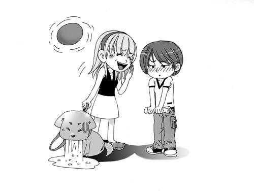 【psd】幽默漫画人物插画场景插画夏日对话场景