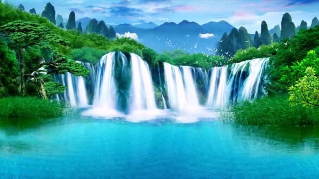 高清山水瀑布视频素材 高山流水 瀑布 湖水动态素材 高山风景 天空