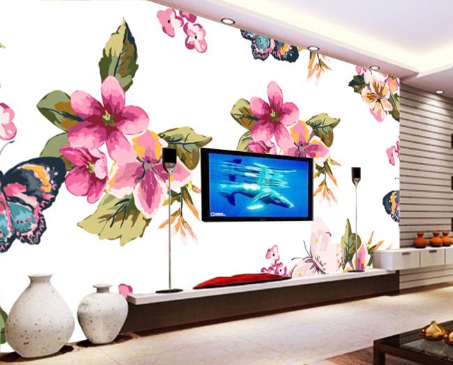 主页 原创专区 室内装饰|无框画|移门 背景墙 > 手绘蝴蝶花朵设计