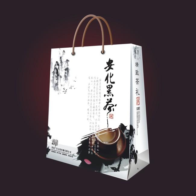 【cdr】中国风泼墨风格安化黑茶包装手提袋设计模板图片