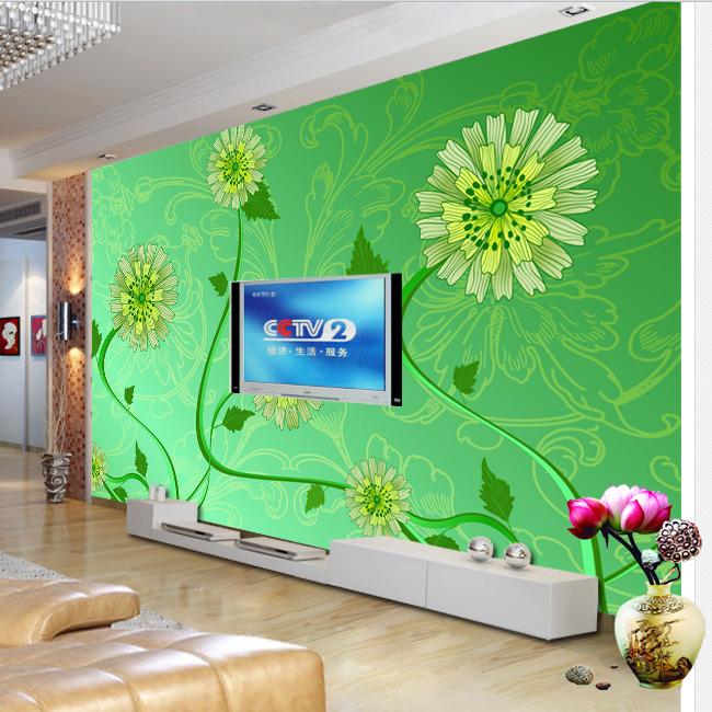 【psd】绿色小清新花朵背景墙