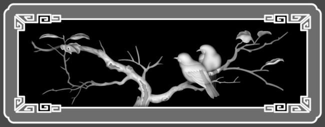 主页 原创专区 室内装饰|无框画|移门 雕刻图案 > 灰度图檀雕花鸟灰度