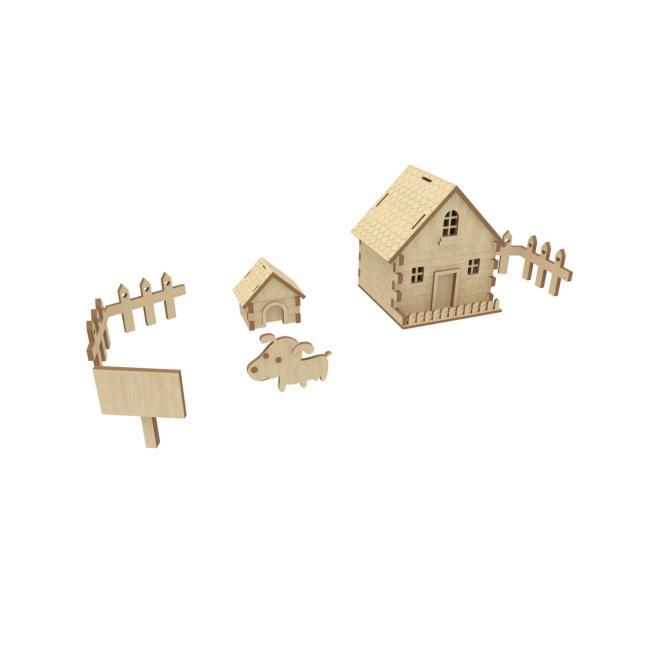 【max】卡通木板快乐农场3d模型房子小狗狗窝