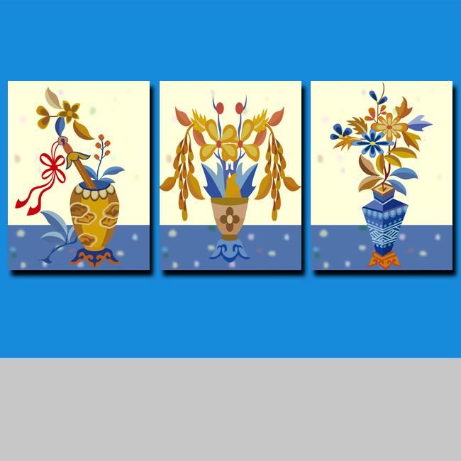 > 家居装饰画无框画花卉  关键词: 油画 简单 咖啡色 青花瓷 水纹