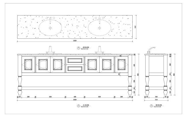 【dwg】cad台盆柜设计室内家具设计