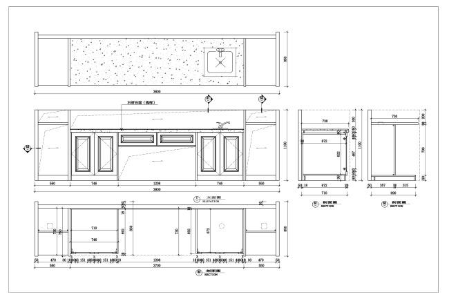 【dwg】红酒吧吧台设计cad家具设计图纸4门2抽