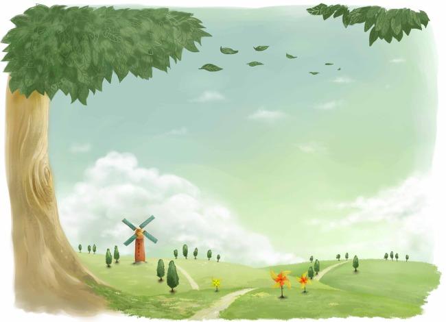 卡通 大树 草地 风车 说明:风景插画