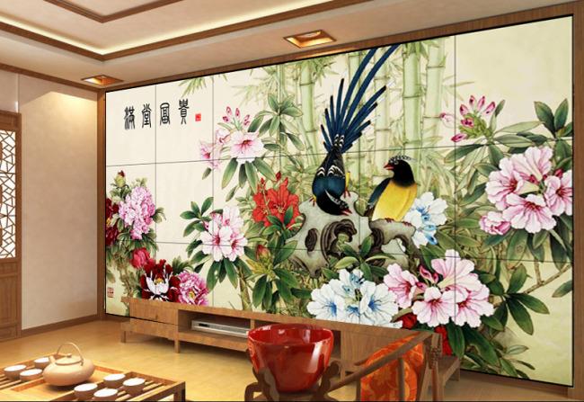 工笔花鸟 孔雀 富贵有余 富贵临门 电视背景墙 沙发背景墙 山水风景画
