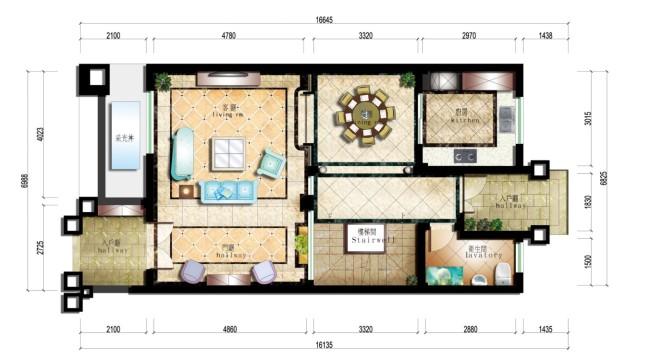 【psd】别墅室内平面布置彩图