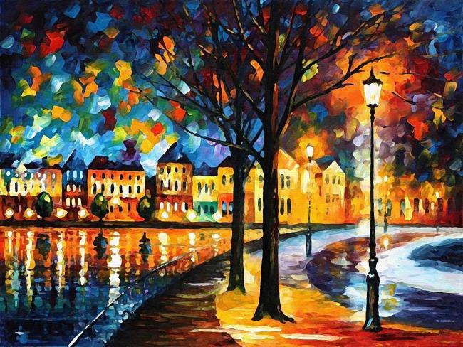 主页 原创专区 > 风景油画图片  关键词: 风景油画 房子 建筑 路灯
