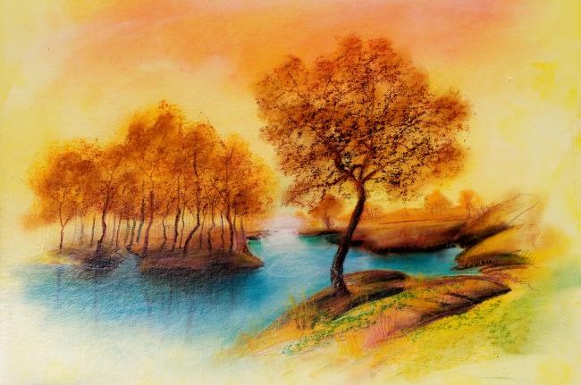 【jpg】秋天 枫树 风景 油画 图片