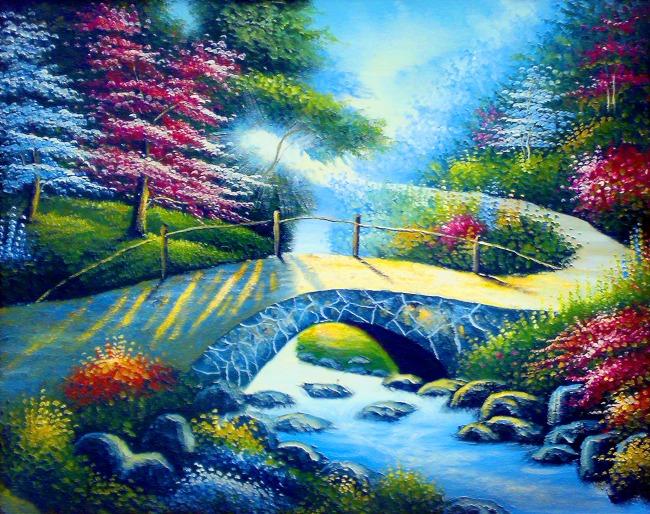 装饰画 油画 无框画 小河 树木 水乡 美术 绘画 风景画 村庄 房屋