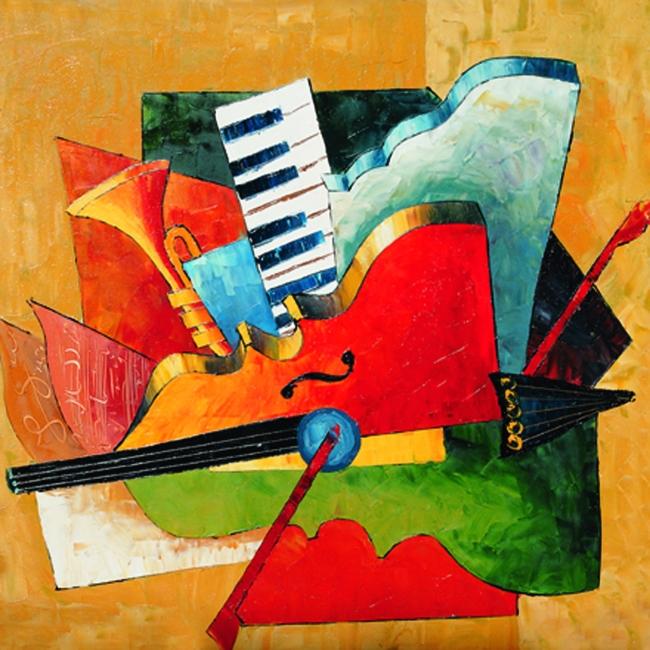 吉他 乐器抽象 抽象艺术 装饰画 抽象油画 静物 装饰画 无框画 设计