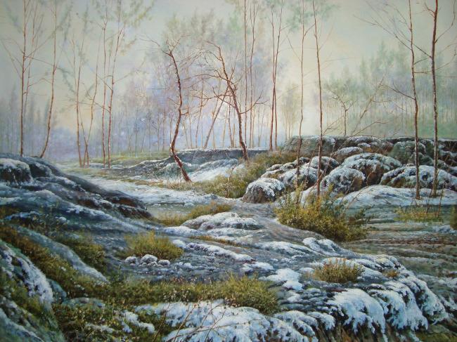 > 冬季雪景唯美油画图  关键词: 下雪图片 雪景油画 油画 风景油画
