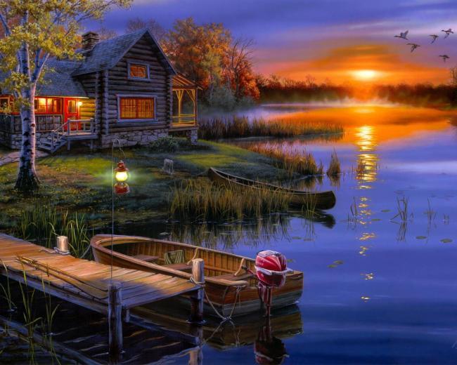 【jpg】湖畔别墅风景油画