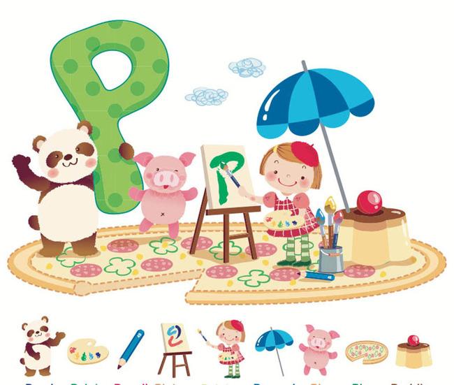 文明礼仪卡通 环保科技画 儿童画背景墙 幼儿园小报 小画家 熊猫 说明