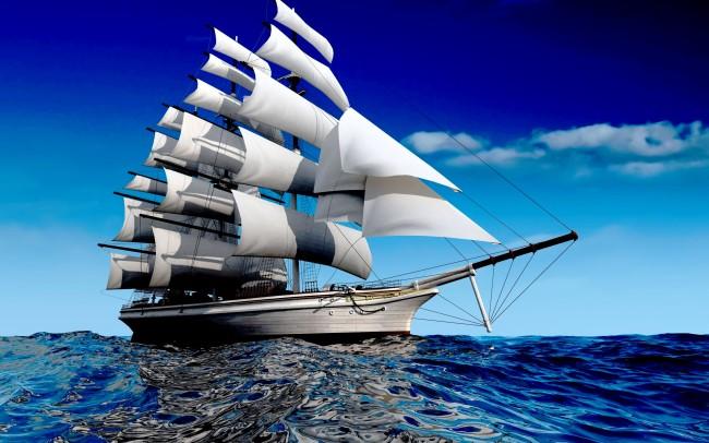 【jpg】海上帆船风景油画