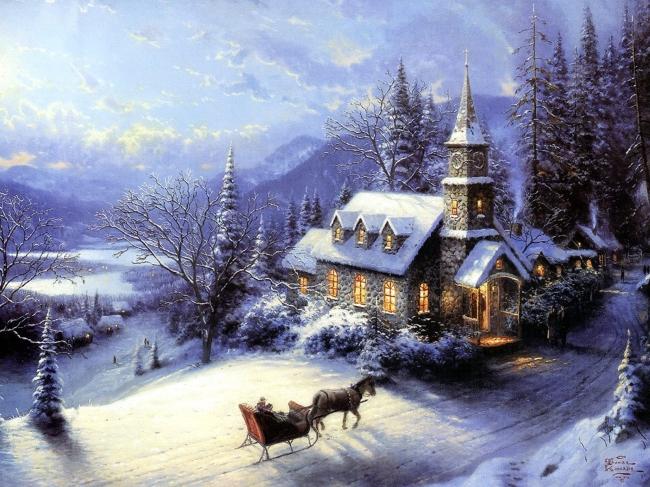 主页 原创专区 > 圣诞节风景油画  关键词: 房子 冬天 雪山雪树森林