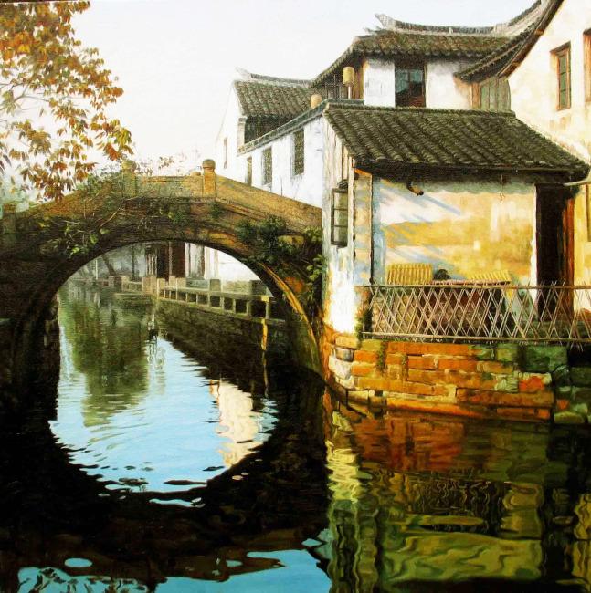 【jpg】小桥流水人家风景油画