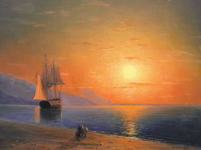 海洋灯塔天空的油画