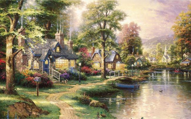 【jpg】河边风景群别墅别墅油画什么采暖系统用图片