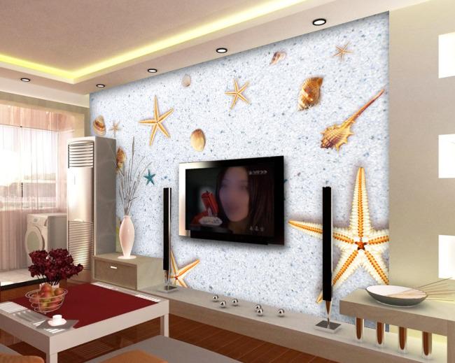 梦幻 时尚 沙滩 电视 装饰画 背景墙 壁画 海星 海螺 抽象 电视墙